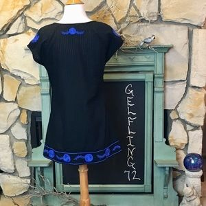 Free People Tops - Free People Black Tunic with Blue Embroidery